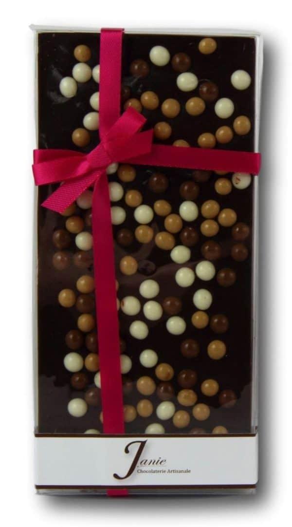 Tablette Mariage Grand Cru Noir 66% Céréales Croustillantes Janie Chocolaterie Artisanale2